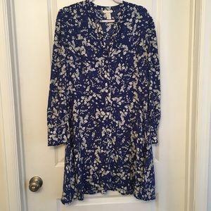 H&M blue floral print button down sheath dress